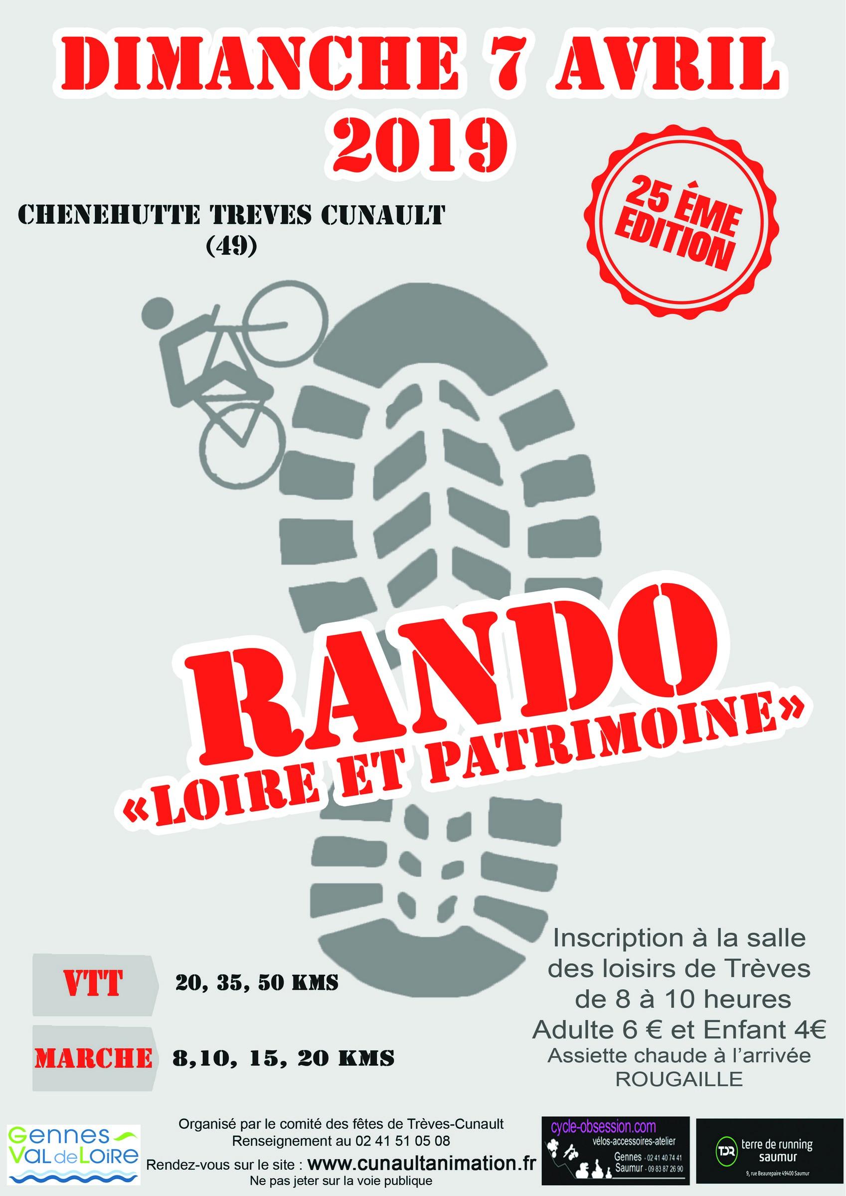 25ème Rando Loire et Patrimoine @ Salle des Loisirs de Trèves | Chênehutte-Trèves-Cunault | Pays de la Loire | France